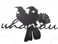 Metal Kiwiana Wall Art / Tui Whanau (Black)