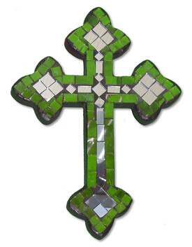 Mosaic Cross with Mirror / Green