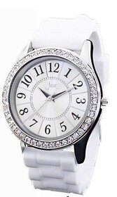 Watch - White Diamante Silicone Strap