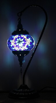 Turkish Mosaic Swan  Lamp - Small Blue
