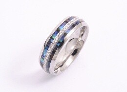Ring - Stainless Steel, Paua & Diamante