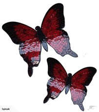 Mosaic Butterfly Wall Art / Red