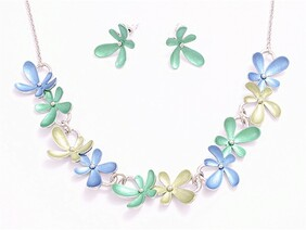 Necklace - Blue & Green Flower Set