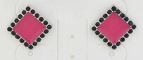 Earrings - Square Pink Earrings with Black Crystals