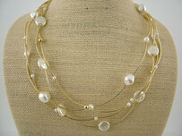 Solid Gold Wire Pearl Necklace