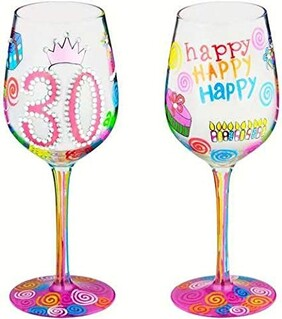 30th Wine Glass