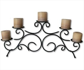5 Arm Metal Candlestick (high center) / Black