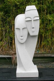 Lovers Faces Terrazo Sculpture 60cm - White