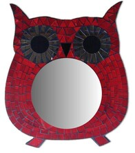 Mosaic Owl Mirror / Red