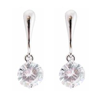 Earrings - Silver Drop with Crystal