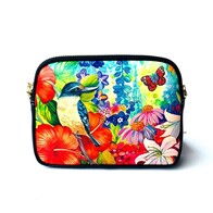 Leather NZ Print Shoulder Bag - Kingfisher