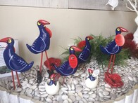 Garden Ornament - NZ Made Ceramic Pukeko - Tube Legs