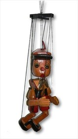 Rustic Pinocchio on String / 25cm