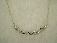 Necklace - Silver Diamante Twist