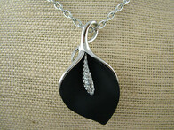Necklace - Black Lily Pendant Necklace