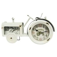 Vintage Tractor Clock White