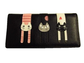 Black Pussy Cat Wallet - Large