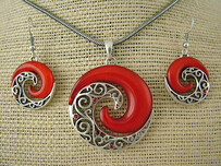 Necklace - Red Koru Necklace and Earring Set
