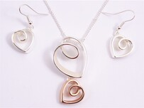 Necklace - Silver & Rose Gold Open Hearts Set