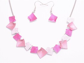 Necklace - Abstract Squares - Pinks