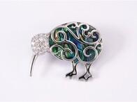 Brooch - Kiwi with Paua Inlay