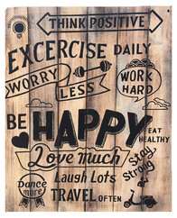 Exercise Daily Sign (solid wood) / 80cm x 100cm