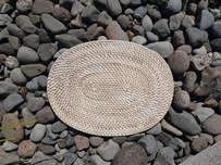 Rattan Cane Placemat - White Wash Oval