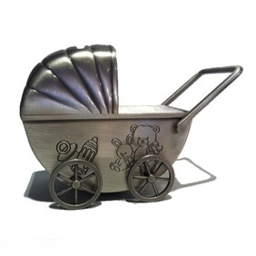 Pewter Baby Pram Carriage Money Box