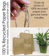 Matt Craft Paper Bags with Twine Handles per 50 Bags