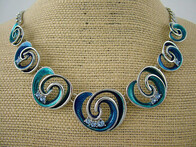 Necklace - Blue Koru and Bead Necklace