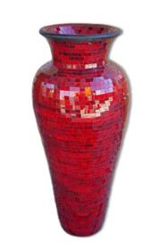 60cm Mosaic Vase with Mosaic inner / Red