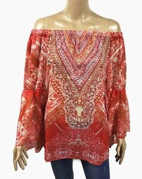 Top - Crystal Off The Shoulder - Red