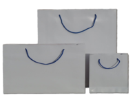 White Gloss Paper Bags with Blue Handles 210gsm per 50 Bags