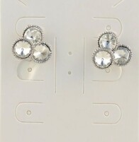 Earrings - Silver Crystal Stones Clip on Earrings