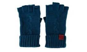 Cable Knit Wool Mix Gloves - Turquoise