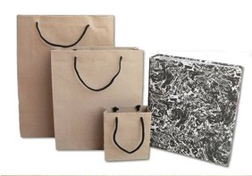 Matt Craft Paper Bags with Black Handles per 50 Bags