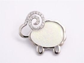 Brooch - White Diamante Sheep