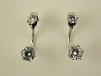 Double Zircon Rhodium Studs