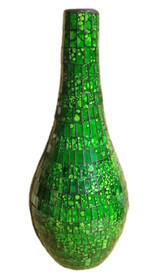 50cm Slim Neck Mosaic Vase / Green