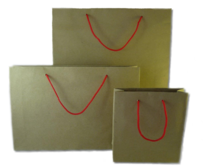 Matt Craft Paper Bags with Red Handles per 50 Bags