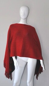 Poncho - Red/Black Fringed