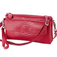 Handbag - Red Leather 6 Pocket