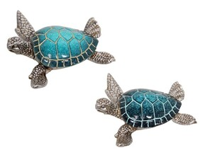 Turtle Ornament- Teal and Silver