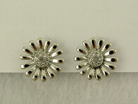 Earrings - Silver Diamante Daisy Earrings