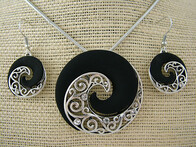 Necklace - Black Koru Set