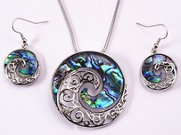Necklace - Paua & Silver Koru Set