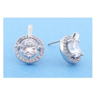 Earrings - Round Crystal Stud