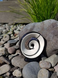 NZ Made Ceramic Spiral Koru - Black & White 15cm