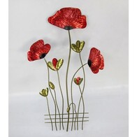 Red Poppies Metal Wall Art