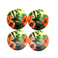 NZ Print Coasters - Flower Fantail
